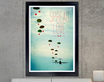 Spread Love Poster - hearts, positive, message