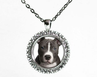 Silver Plated Custom Rhinestone Dog Portrait Picture Necklace  - Pet Memorial Jewellery - Keepsake Necklace - Round Photo Pendant Necklace