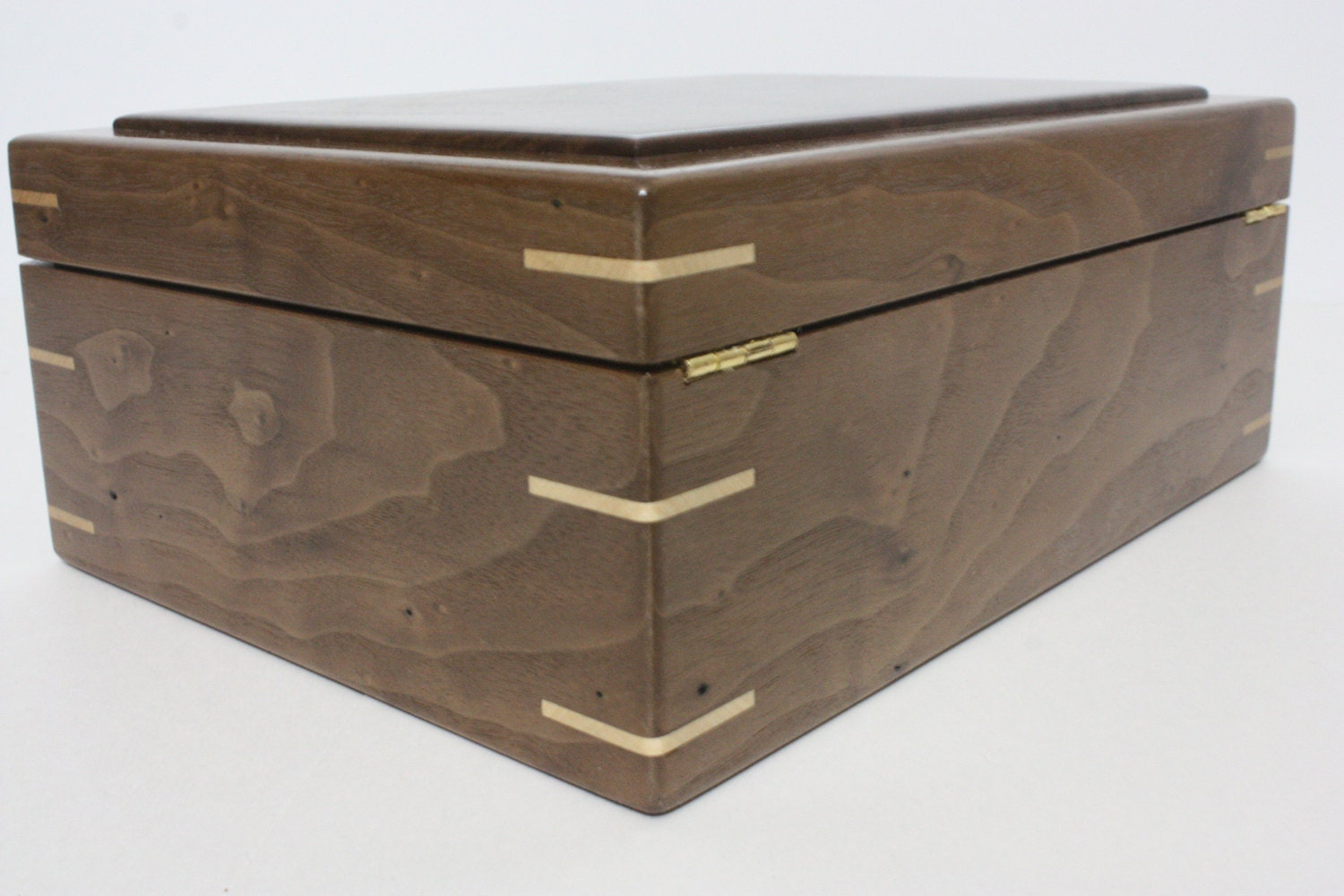 Locking Walnut Box With Quadrant Hinges For Sale
