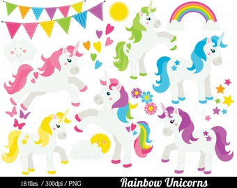 Unicorn Clipart, Rainbow Unicorn Clip Art, Pony horse pink blue purple girls baby girl party - Commercial & Personal - BUY 2 GET 1 FREE!