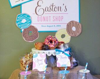 Donut Party Set, donut birthday party, donut birthday, party decor, printable decor, donut party, kids birthday, birthday brunch