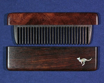 Wooden comb made of bog oak with inlaid mother of pearl - Kangaroo