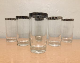 Six 12 oz High Ball Glasses / Tumblers with Silver Rims
