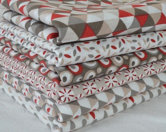 Set of 6 patchwork fabric patches red / ecru 50 x 50 cm