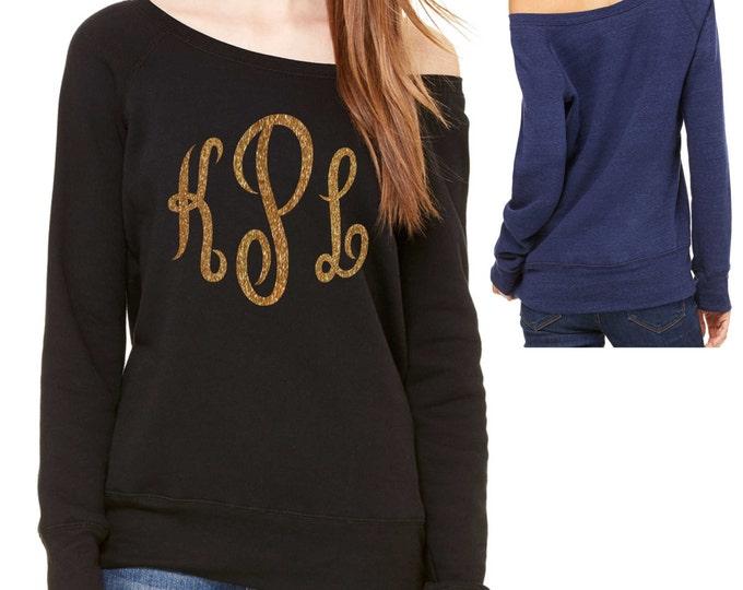 monogram off shoulder sweatshirt .  monogram shirts for women . off shoulder sweatshirt . slouchy fleece sweatshirt - red, blue, grey, black