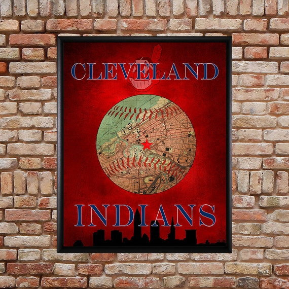 Cleveland Indians Poster Cleveland Map Indians Print