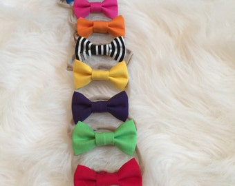 The solid color bow  pink  orange  blue yellow  green  black&white  red  purple