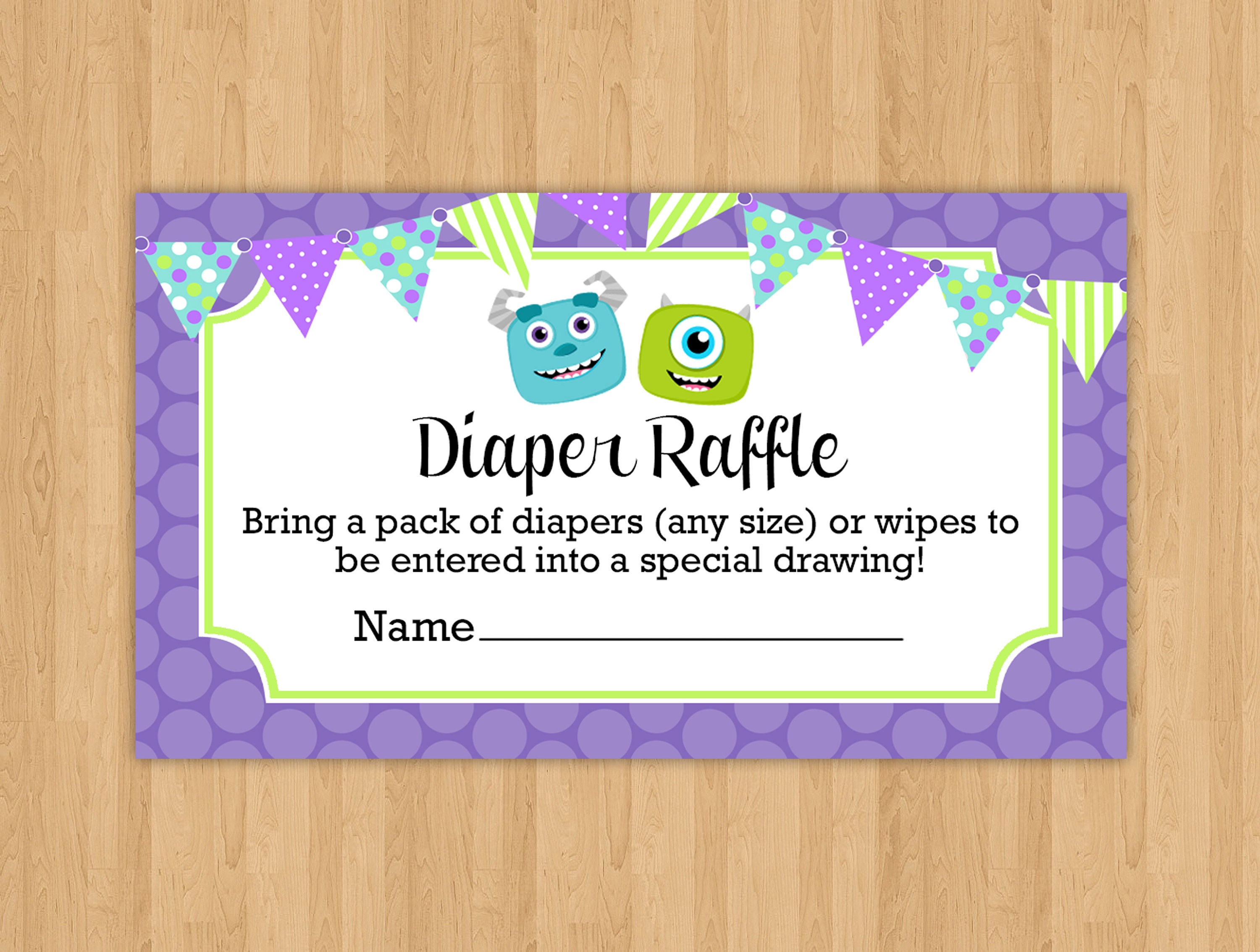 INSTANT DOWNLOAD Monsters Inc Inspired Printable Diaper