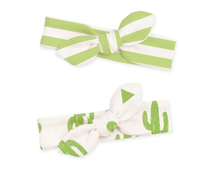Newborn Headband Bow Set, Baby Girl Headband, Newborn Baby Headwrap, Baby Girl Bow Headband, Baby Knot Headband, Green Cactus, Tesababe