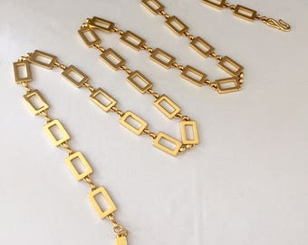Vintage Ralph Lauren Gold Tone Metal Fashion Belt Chain with Rectangular Links Accessory