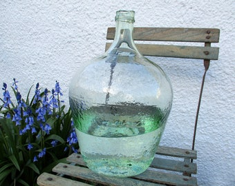 Antique French Carboy, 10 Litres, Large Carboy, Textured Glass, Pale Green Glass, French Demijohn, Terrarium, Large Wine Bottle, Dame Jeanne