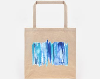 Watercolour Abstract Stripe 2 Print on Natural Canvas Tote Bag
