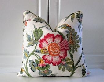 Scalamandre Decorative Pillow Cover-Handprint Floral-Linen-20x20