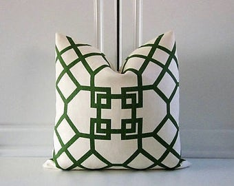 Kravet Couture Decorative Pillow Cover-Emerald Green Chinoiserie-Geometric-18x18,20x20,22x22,24x24-Last One!