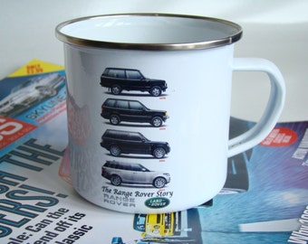 Range Rover Retro Enamel Mug, Classic Range Rover 10oz Car Cup, Range Rover Gift Idea, Christmas Gift Idea