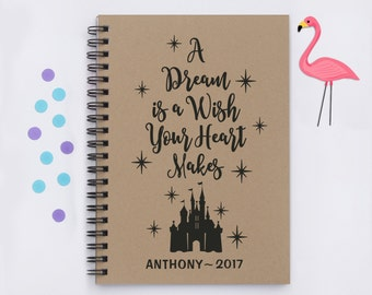 """Personalized, A Dream is a Wish Your Heart Makes (silhouette version), 5""""x7"""" disney autograph book, castle, disney world, disneyland, trip"""