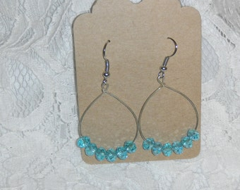 Large Teardrop Blue Glass Bead Earrings