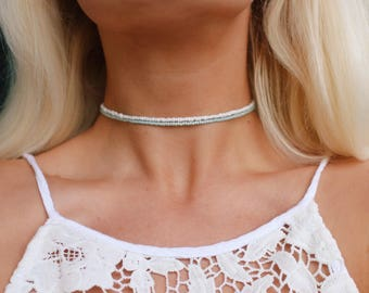 Dainty Seafoam Opal Beaded Choker Necklace