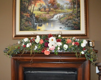 Mantle Swag, Floral Swag, Fireplace swag, Wall Swag, Floral Decor Swag,Bohemian Mantle Swag, Fireplace hearth swag