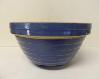 Vintage Crock Style Mixing Bowl Blue Ridged Pattern USA Made