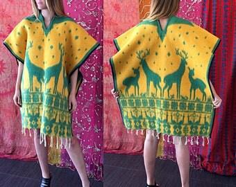 Sale Southwestern Poncho Indian Poncho Boho Ethnic Ponncho Blanket Fringe Poncho