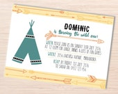 Tribal Birthday Invitation ~ Cowboy and Indians ~ Arrow Invitation ~ First Birthday Invitation ~ Boho Invitation ~ Wild West Party