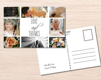 Rustic Wedding Thank you Postcard ~ Photo Postcard ~ Thank you Postcard ~ Printable Wedding Postcard ~ Love and Thanks Card ~ Guest Card