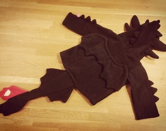 Toothless inspired black dragon baby / children costume hoodie, super cute gift