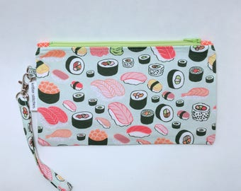 Sushi Wristlet - Green Zipper