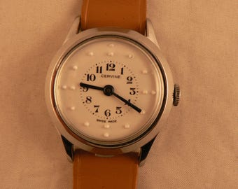 Vintage Braille Cervine Wrist Watch 15J Swiss Made Porcelain Dial Ca 1960's