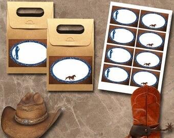 Cowboy Labels Instant Download Printable Labels