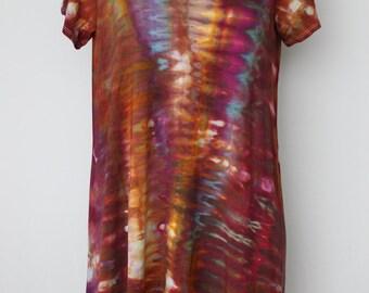 Tie dye Women's handkerchief hem tunic, Ice Dyed, asymmetrical, Size Medium - Na's Favorite snakeskin