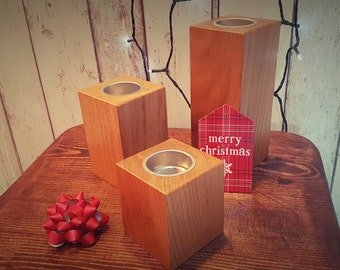 Beautifully crafted Solid Oak Rectangular Tea Light Holders