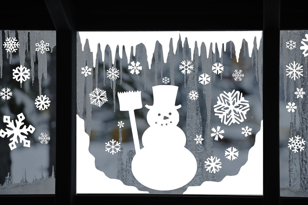 Snowman Window Decal Clings Reusable Snowman Window Clings
