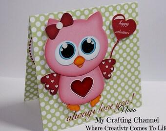 Valentine Card-Owl Valentine Card-Owl-3D Card