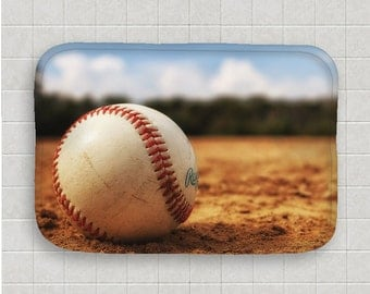 Baseball Bath Mat Microfiber Floor Mat Memory Foam Mat Baseball Decor Non