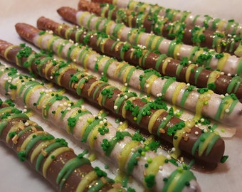 St. Patrick's Day Chocolate Covered Pretzel Rods wedding Favors, shower favors, sweet gift