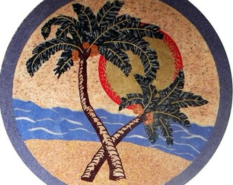 Palms on the Beach  Medallion Mosaic