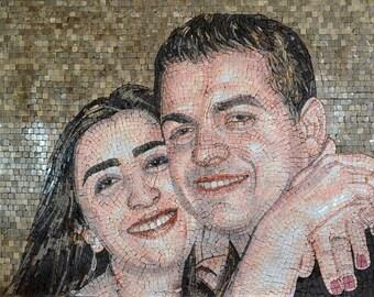Custom Valentine Portrait on Marble Mosaic