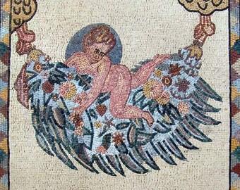 Handmade Roman Angel Mosaic Mural