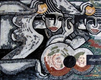 Modern Abstract Figures - Marble Mosaic Mural