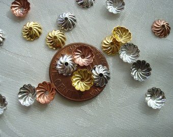 Domed Brass Pinwheel Caps. 7x2.5mm. 5g/50pc or 10g/100pc In Silver, Gold, New-Copper & Platinum Mix or Choose Plain, New-Copper.