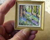 Original dollhouse watercolour painting. Bluebells. 112 scale. By Pauline Whiteley. Miniature Painting. Dollhouse art. SFA