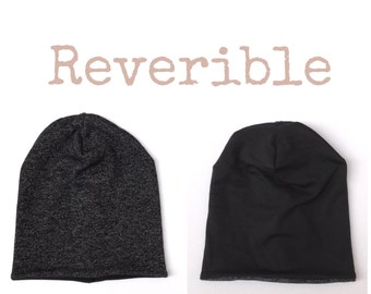 Baby Toddler Boy Girl Sweater Knit Black White Reversible Slouchy Beanie Hat