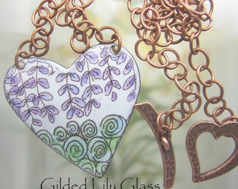 Wisteria Blooms Enamel Heart Pendant, Copper Enamel Jewelry handmade in North Carolina