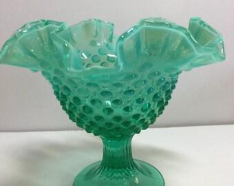 Fluted Hob Nob Blue Green Variegated Vintage Glass Pedestal Bowl Candy, Nuts Bowl, Serving Bowl, Green Bowl, Fluted Bowl, Serving Dish