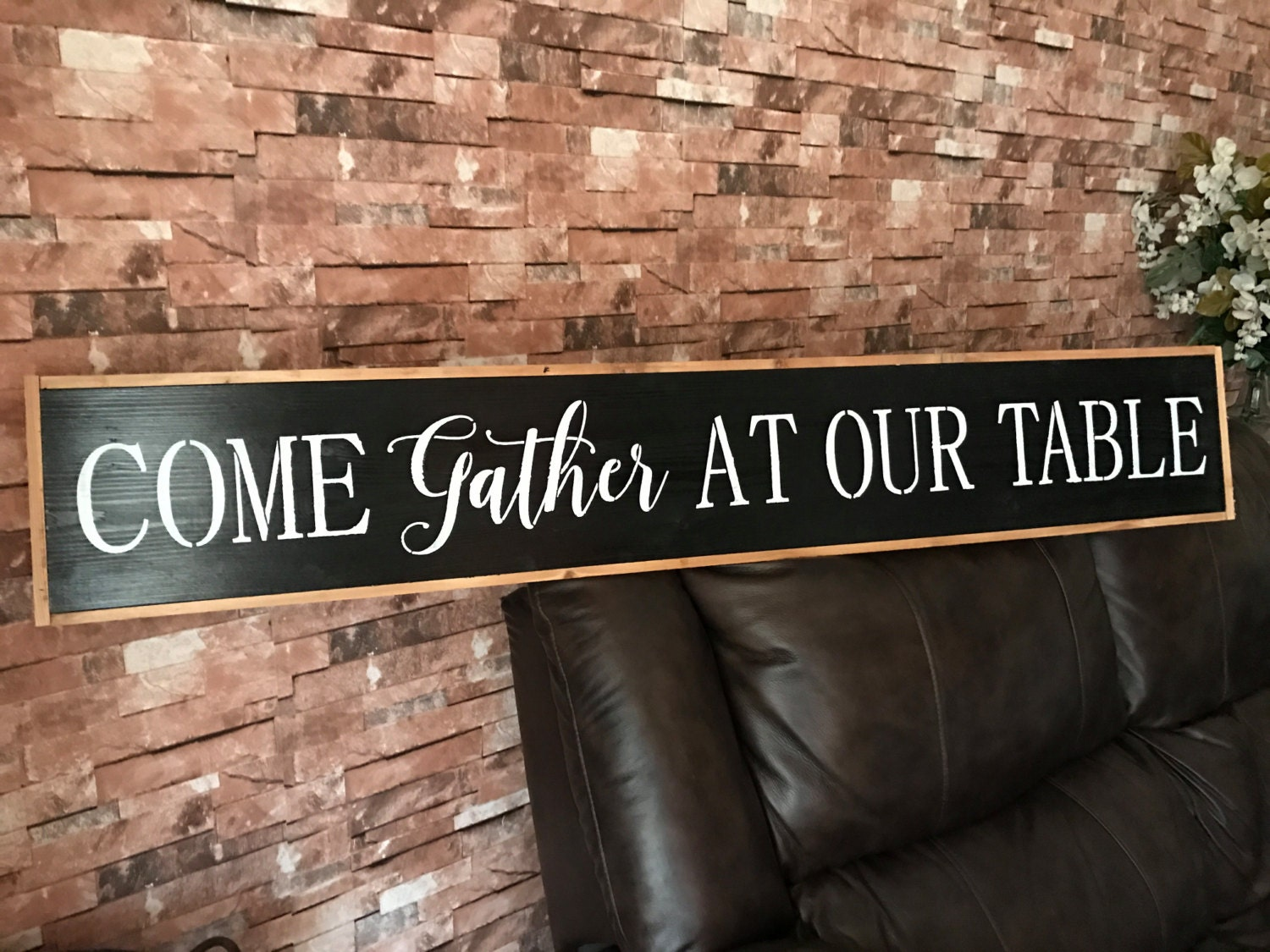 Fixer upper kitchen wall art - Come Gather At Our Table Rustic Fixer Upper Style Farmhouse Black Framed Wood Style Kitchen Dinning Room Wall Art Home Decor