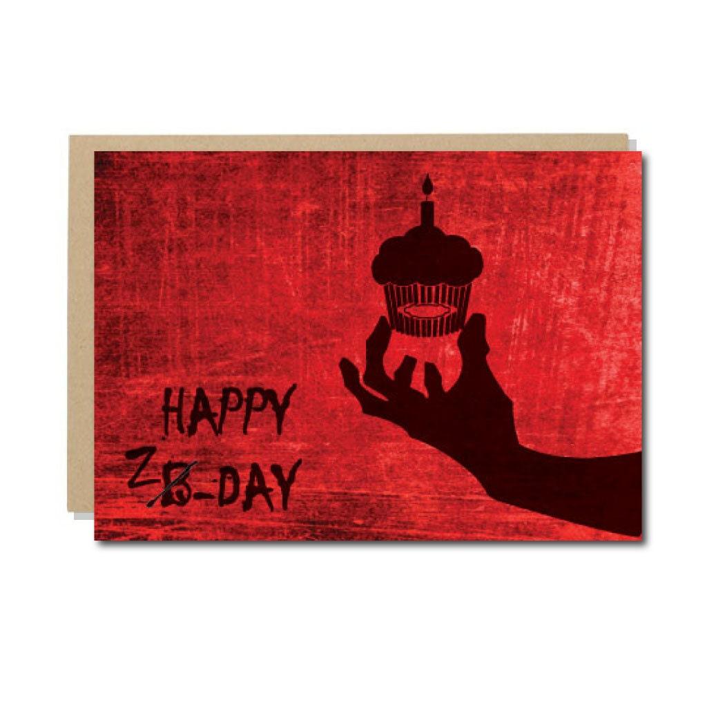 Zombie Birthday Card Geek Birthday Card Happy Z-Day Funny