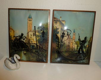 Vintage Romantic Silhouettes On The Grand Canal Venice Italy 1930's-1940's