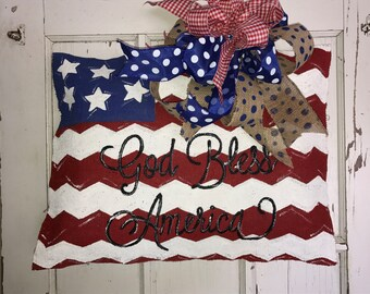 Personalized American (USA) Burlap Flag Door Hanger : door flags - pezcame.com